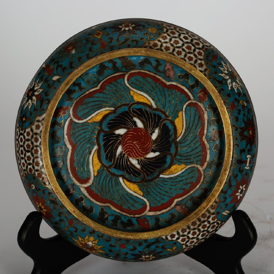 CHINESE CLOISONNE COVER BOX - 6