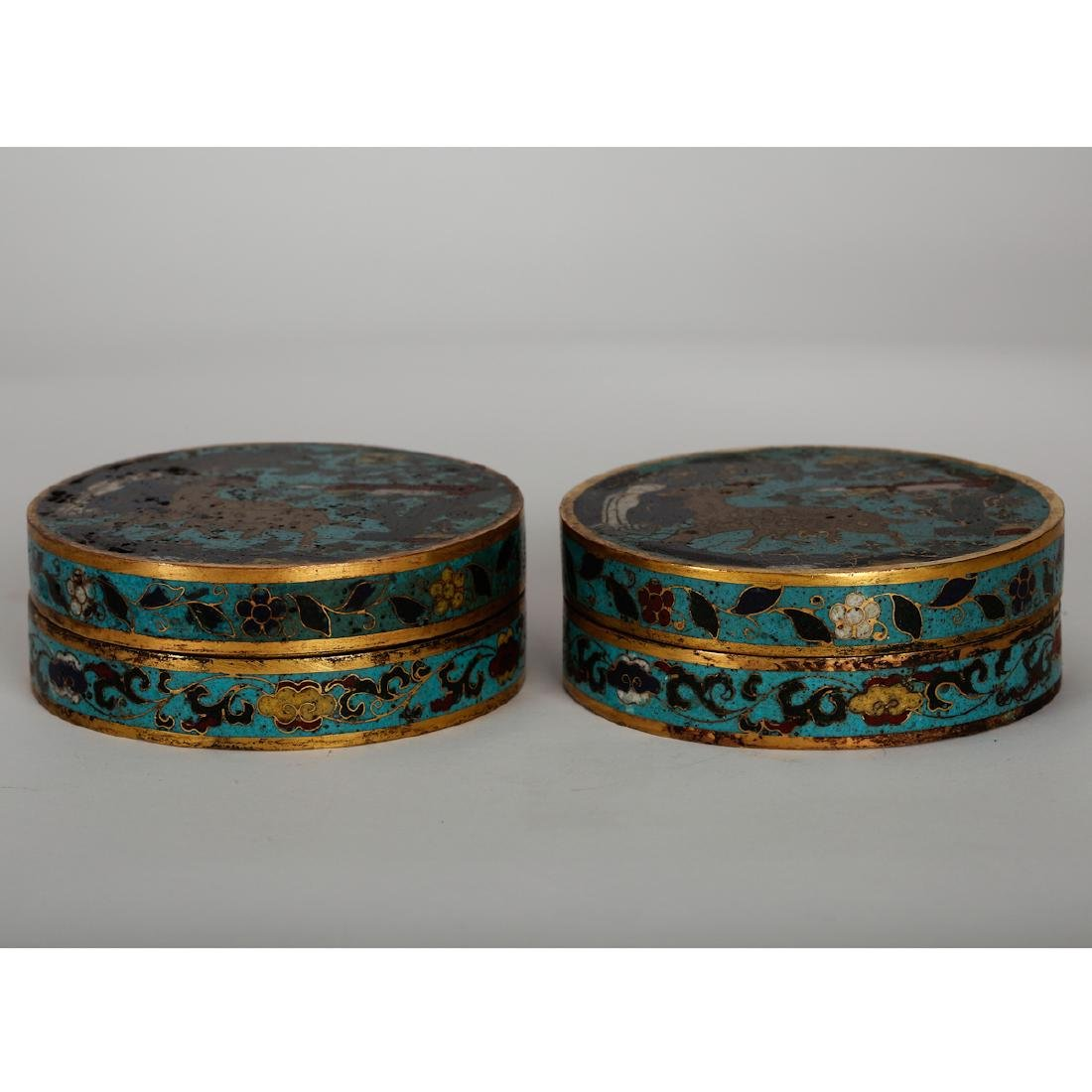 CHINESE CLOISONNE COVER BOX, PAIR