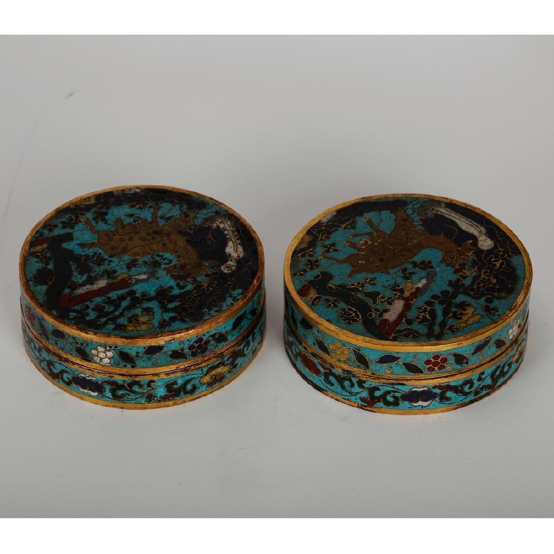 CHINESE CLOISONNE COVER BOX, PAIR - 2