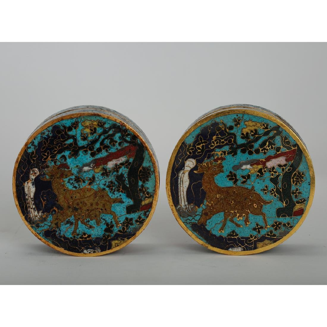 CHINESE CLOISONNE COVER BOX, PAIR - 3