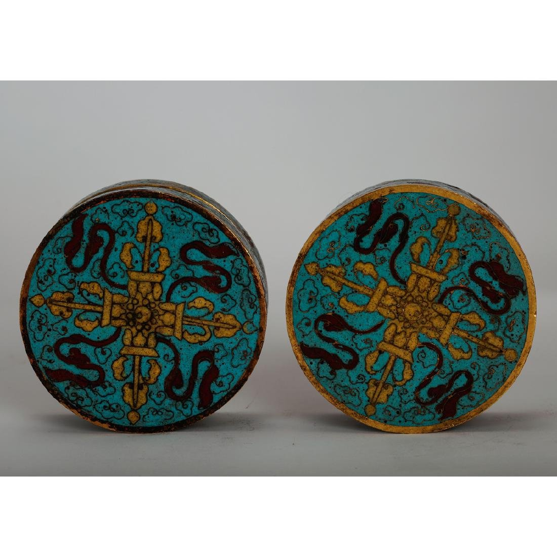 CHINESE CLOISONNE COVER BOX, PAIR - 6