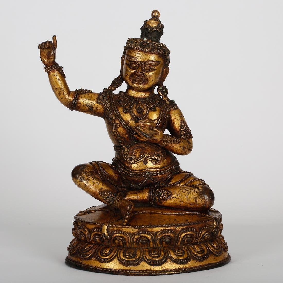 CHINESE GILT BRONZE SEATED VIRUPA