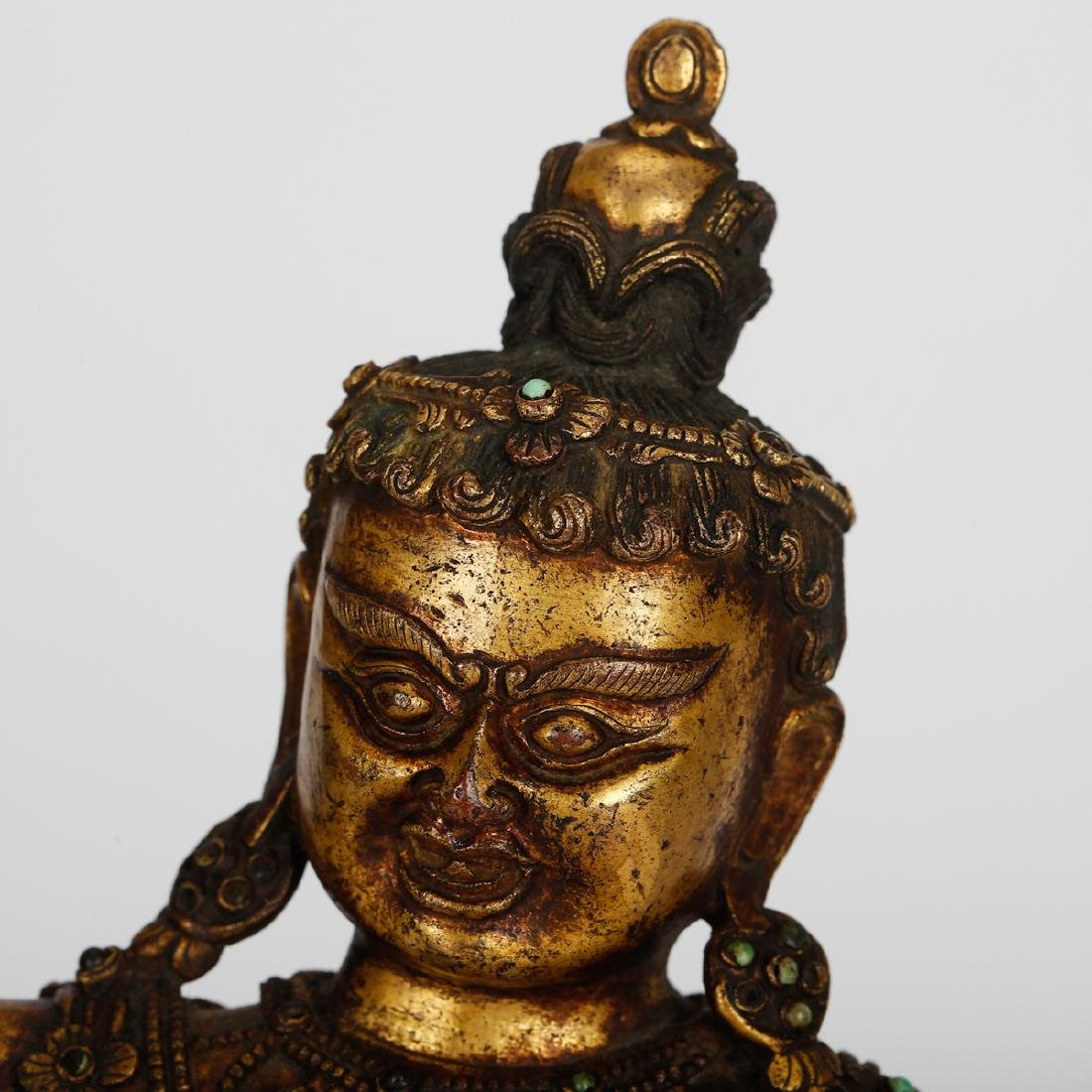 CHINESE GILT BRONZE SEATED VIRUPA - 2