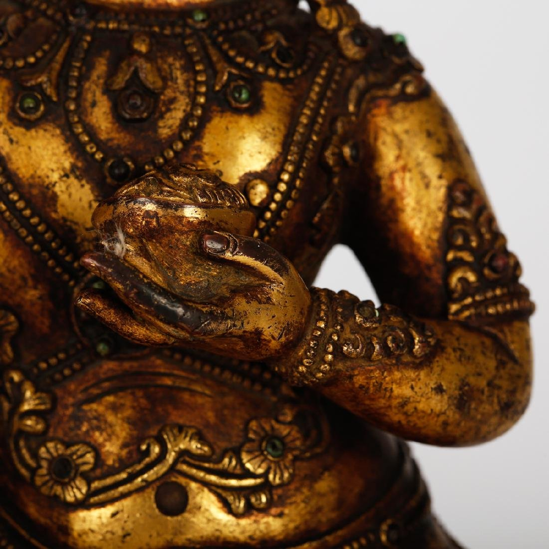 CHINESE GILT BRONZE SEATED VIRUPA - 4