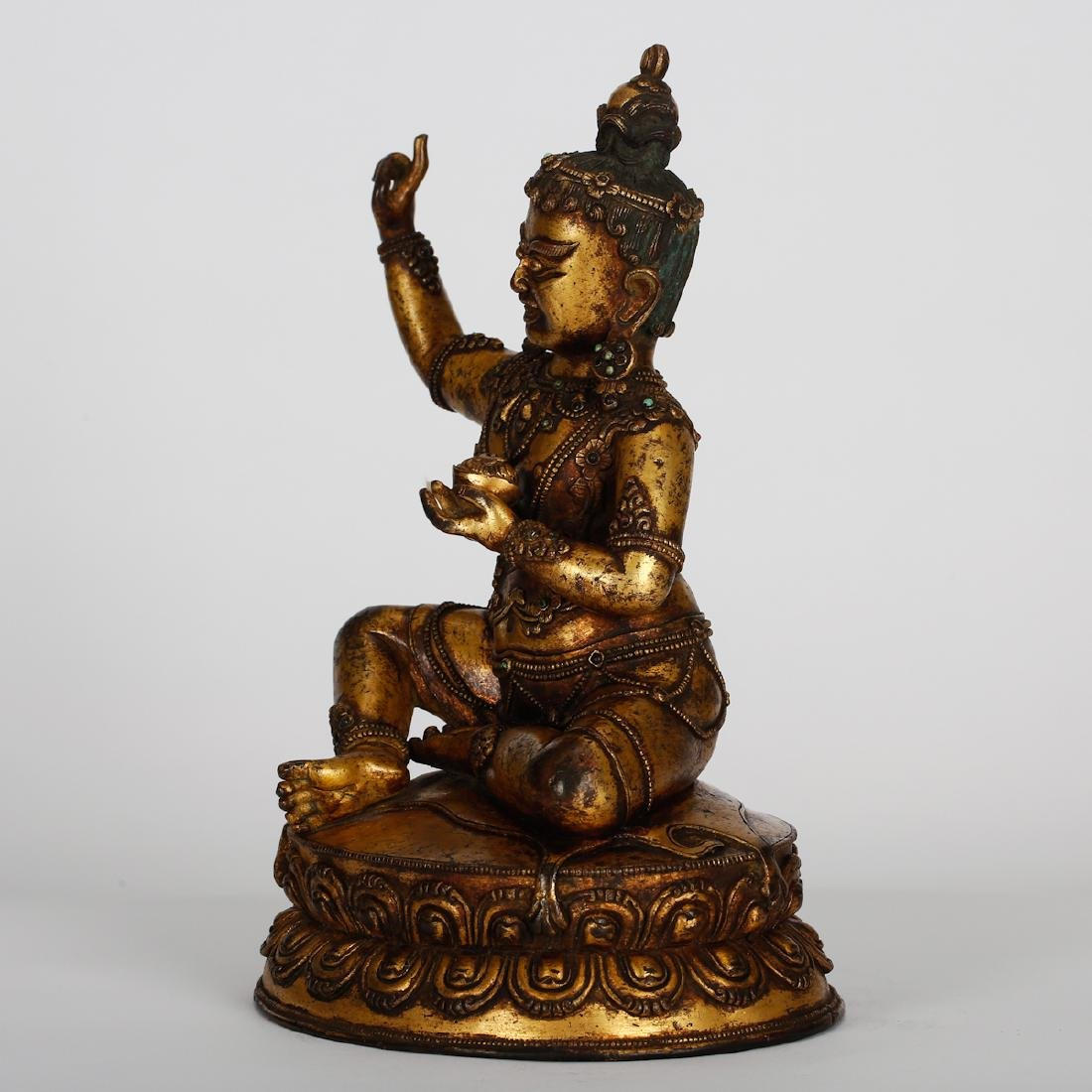CHINESE GILT BRONZE SEATED VIRUPA - 7