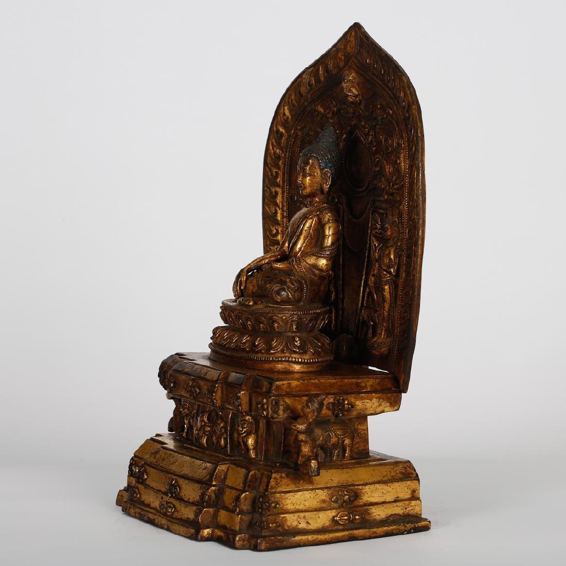 CHINESE GILT BRONZE BUDDHA - 6