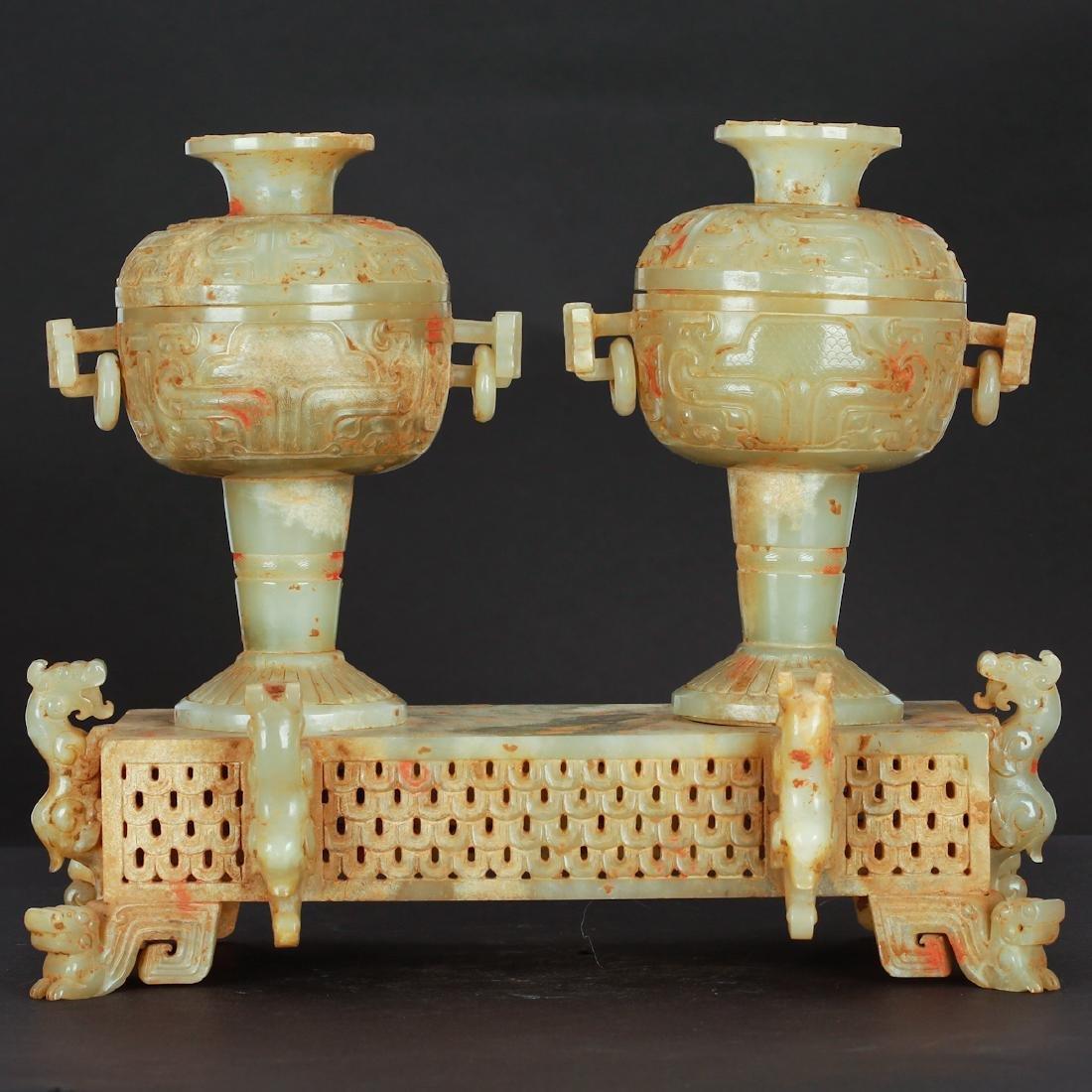 CHINESE ARCHAIC JADE CENSER, PAIR