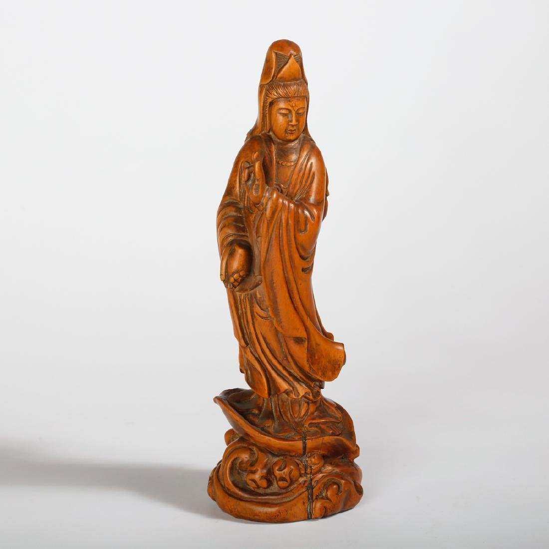 CHINESE BOXWOOD FIGURE OF GUANYIN