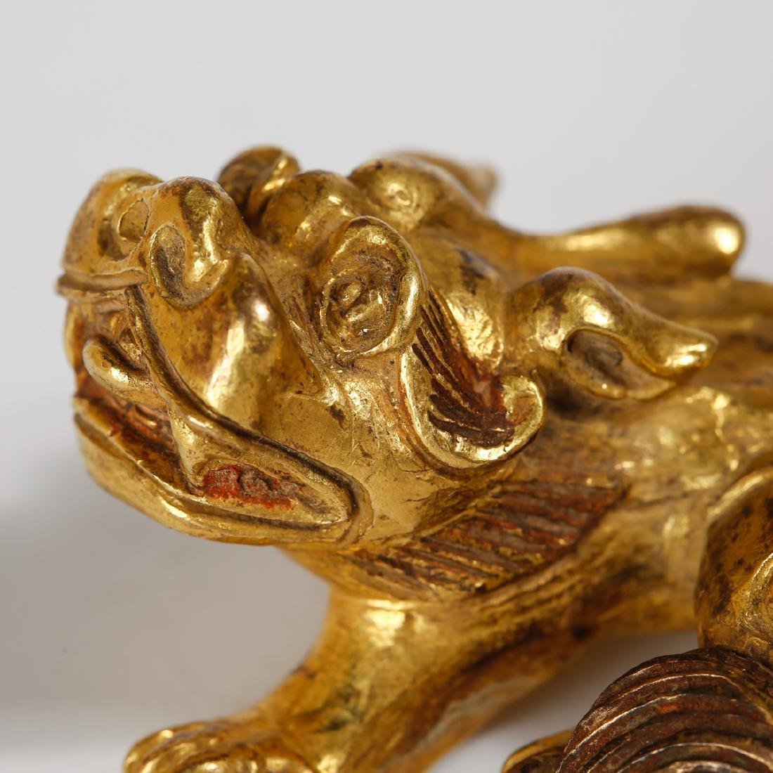 CHINESE GILT BRONZE FOOLION - 5