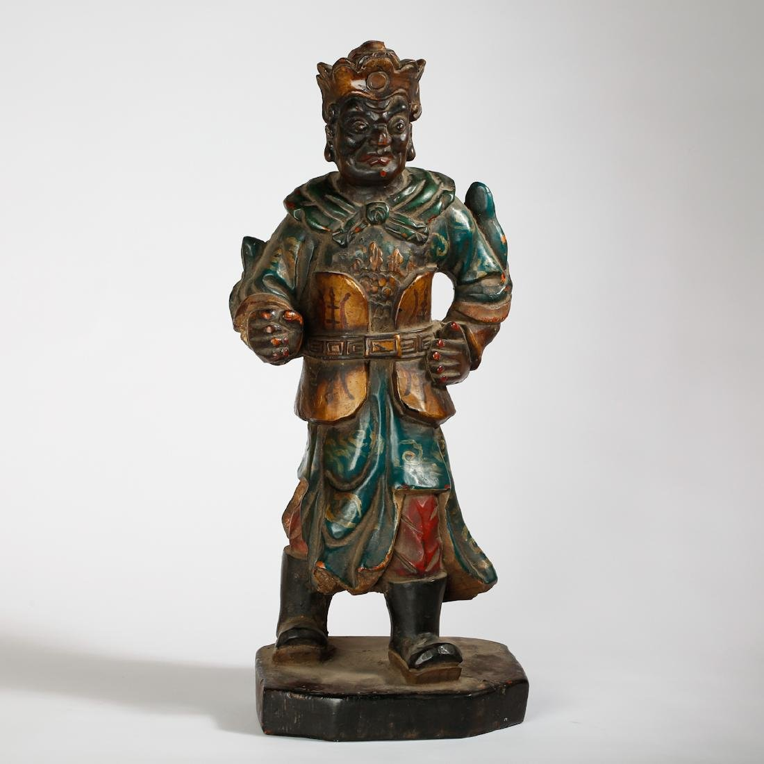 CHINESE LACQUER WOOD FIGURE OF GUARDIAN