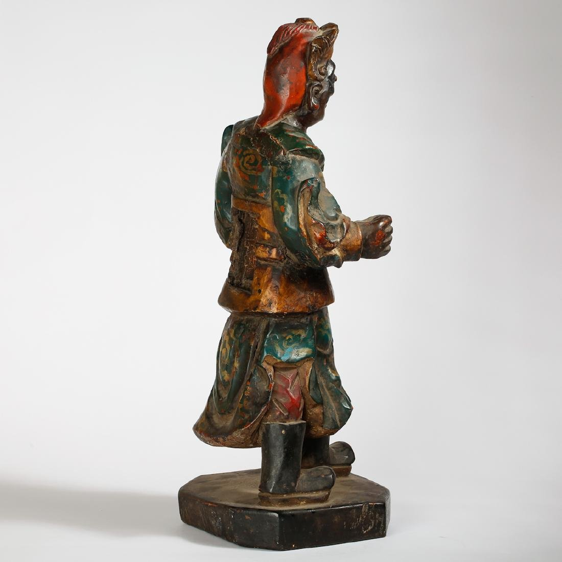 CHINESE LACQUER WOOD FIGURE OF GUARDIAN - 2