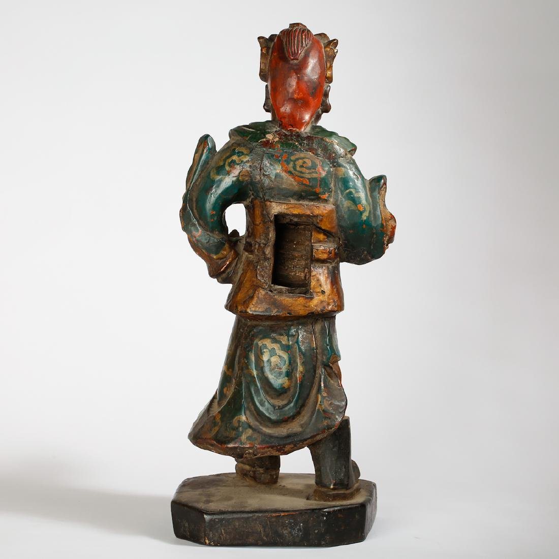 CHINESE LACQUER WOOD FIGURE OF GUARDIAN - 3