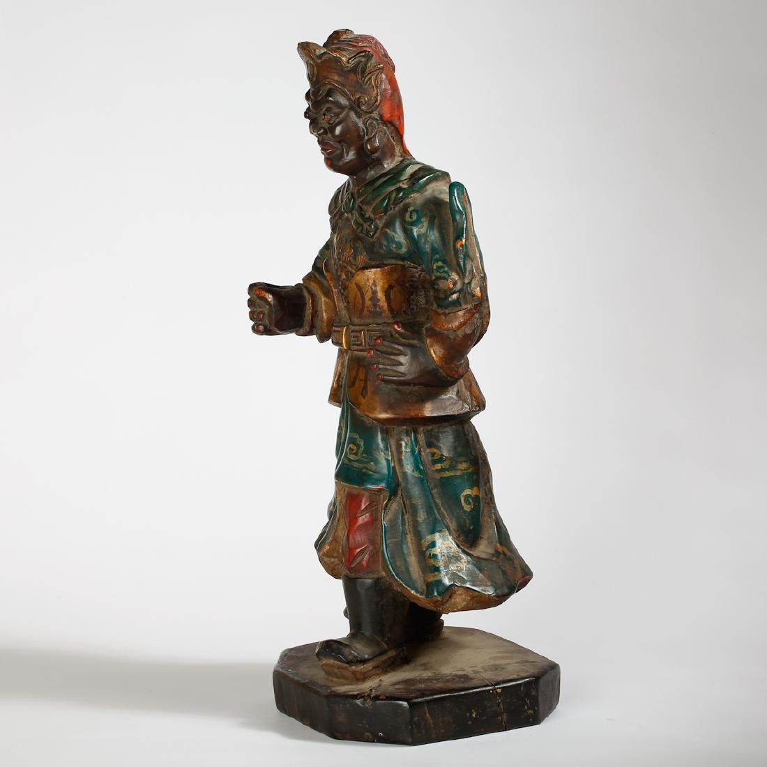 CHINESE LACQUER WOOD FIGURE OF GUARDIAN - 4