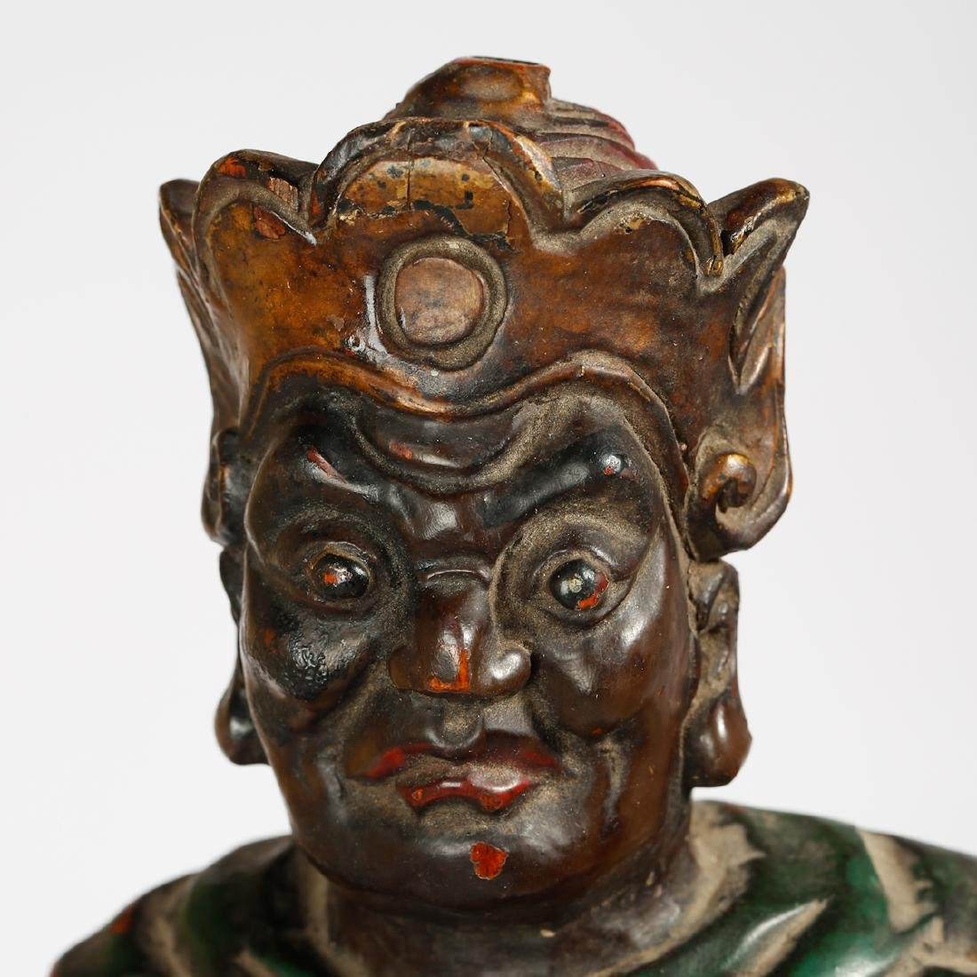 CHINESE LACQUER WOOD FIGURE OF GUARDIAN - 5