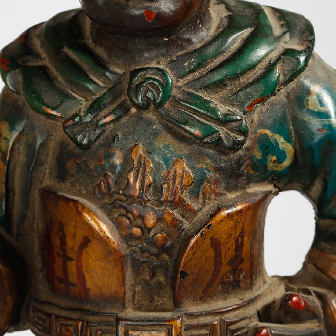 CHINESE LACQUER WOOD FIGURE OF GUARDIAN - 6