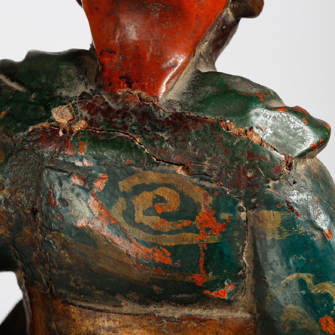 CHINESE LACQUER WOOD FIGURE OF GUARDIAN - 7