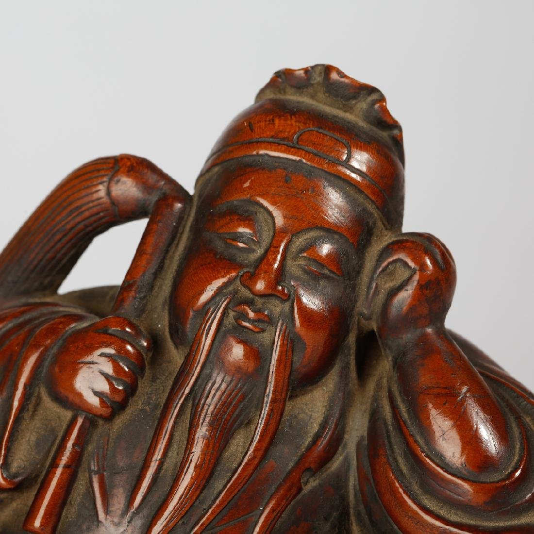 CHINESE BOXWOOD FIGURE OF SCHOLAR - 4