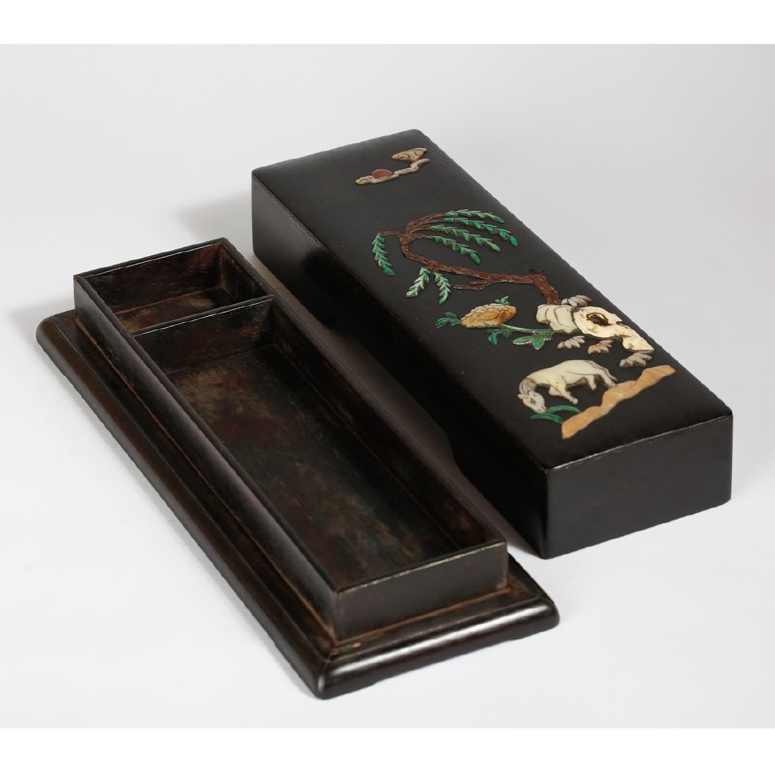 CHINESE ZITAN WOOD BOX WITH INLAID - 2