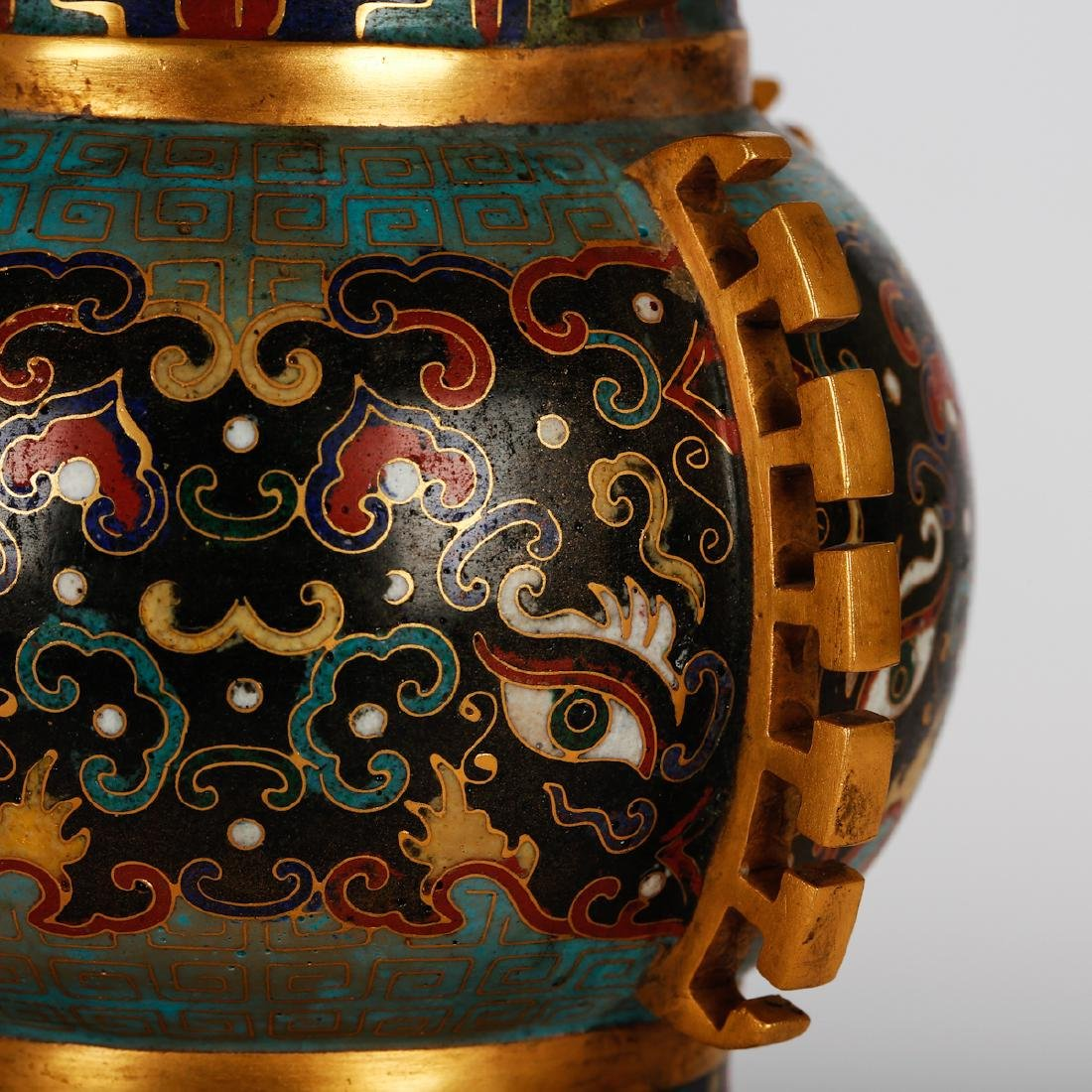 CHINESE CLOISONNE VASES, PAIR - 4