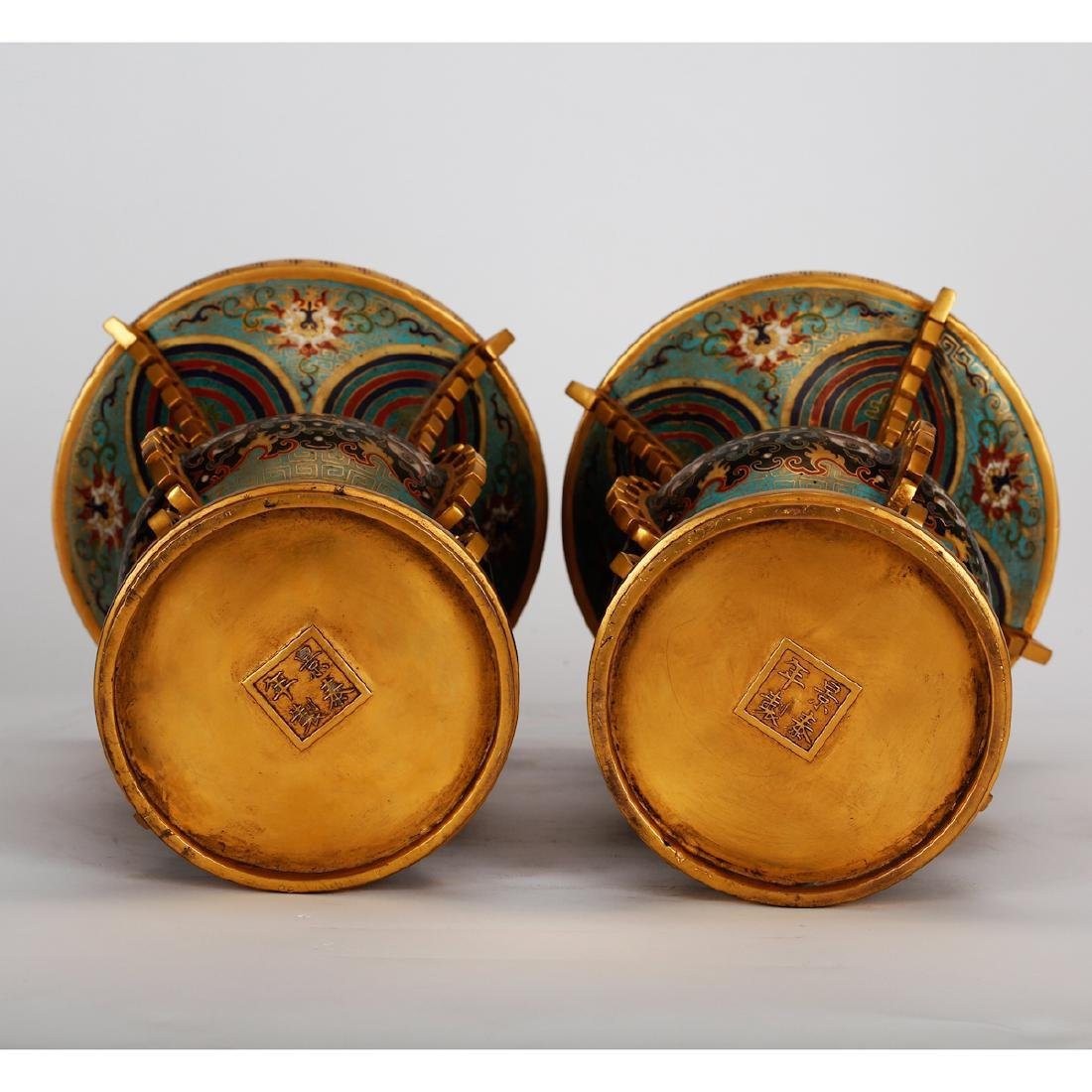 CHINESE CLOISONNE VASES, PAIR - 6
