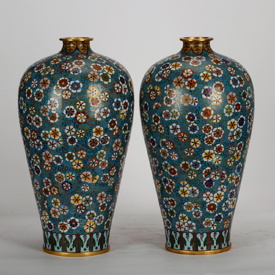 CHINESE CLOISONNE MEIPING VASE, PAIR