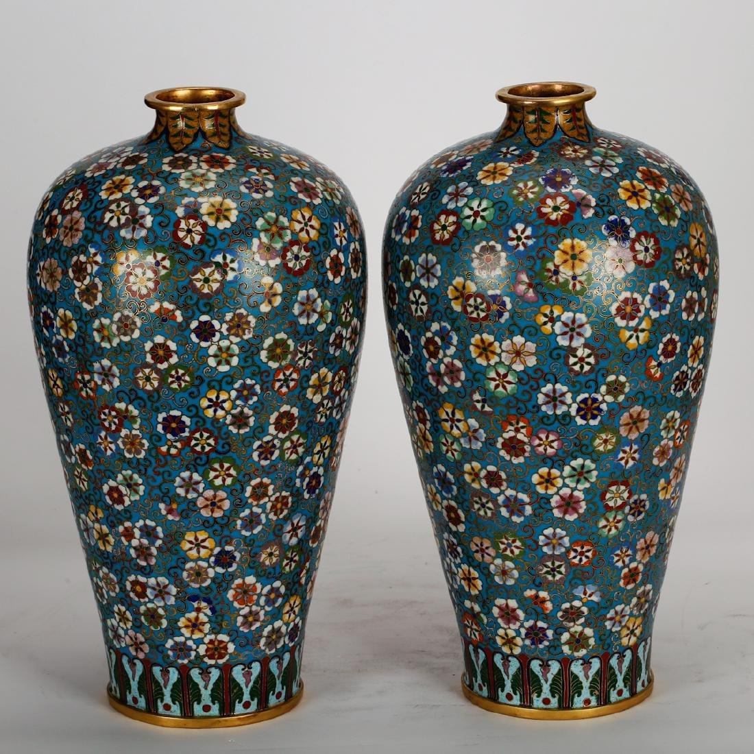 CHINESE CLOISONNE MEIPING VASE, PAIR - 2