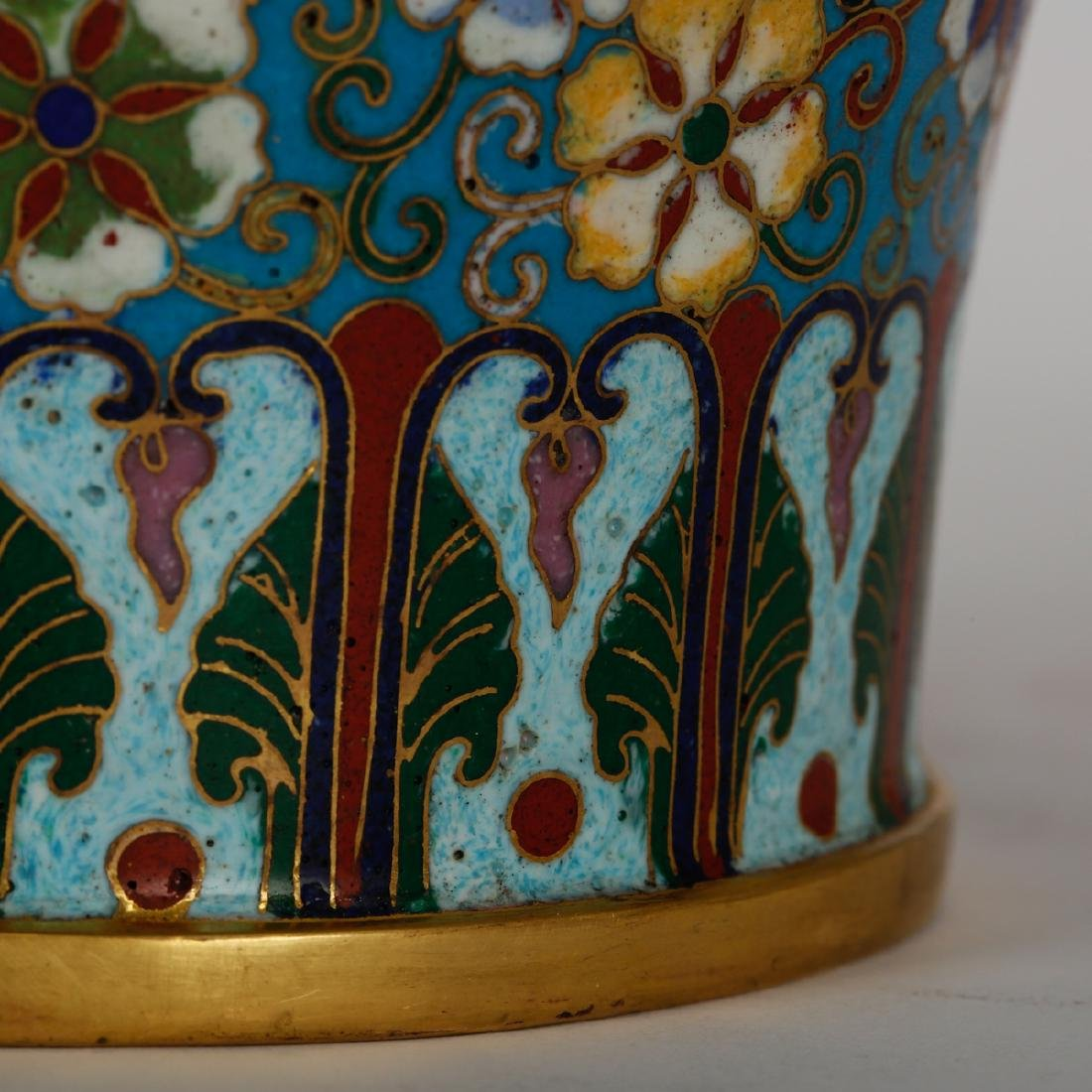CHINESE CLOISONNE MEIPING VASE, PAIR - 4