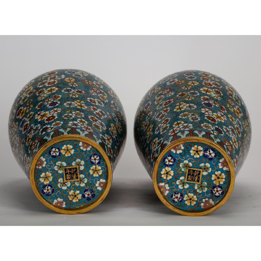 CHINESE CLOISONNE MEIPING VASE, PAIR - 5