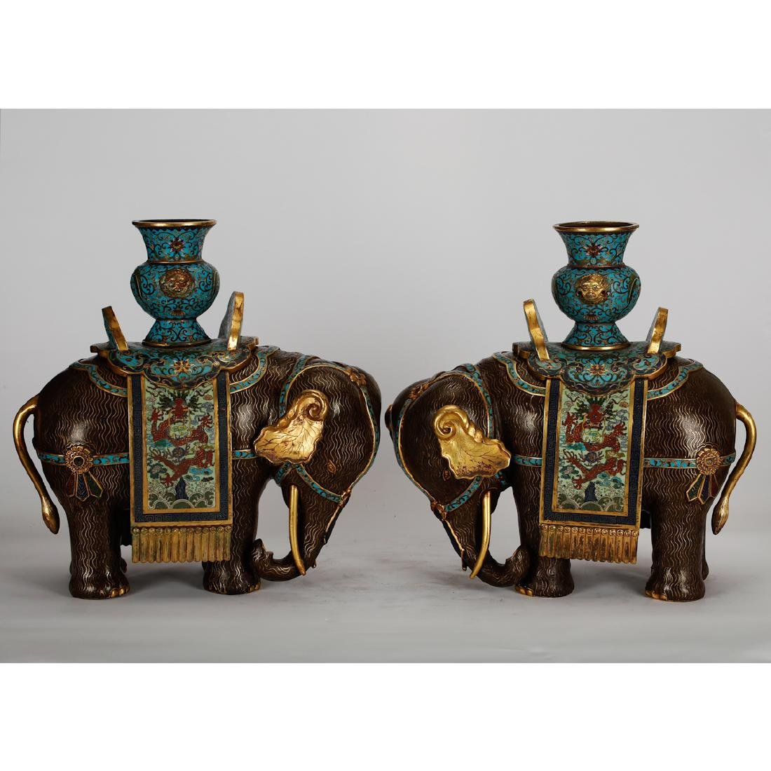 CHINESE CLOISONNE ELEPHANTS, PAIR