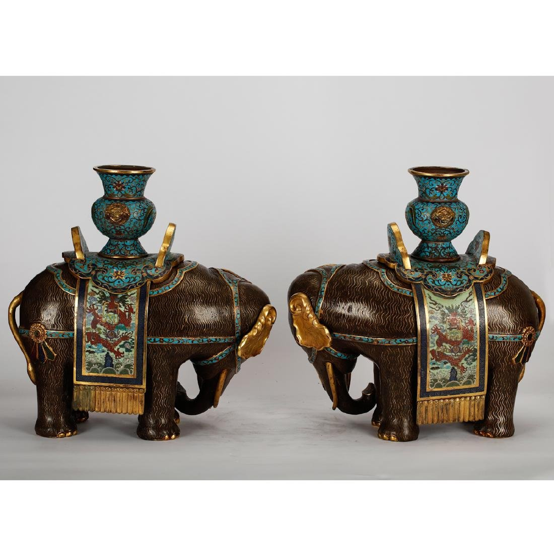 CHINESE CLOISONNE ELEPHANTS, PAIR - 2