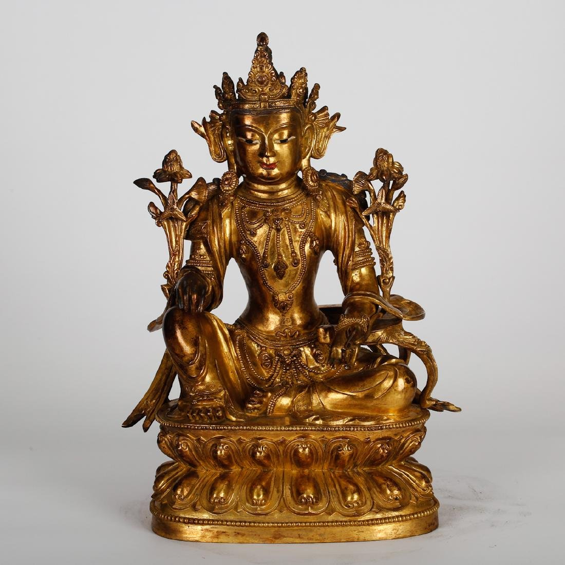 CHINESE GILT BRONZE SEATED TARA