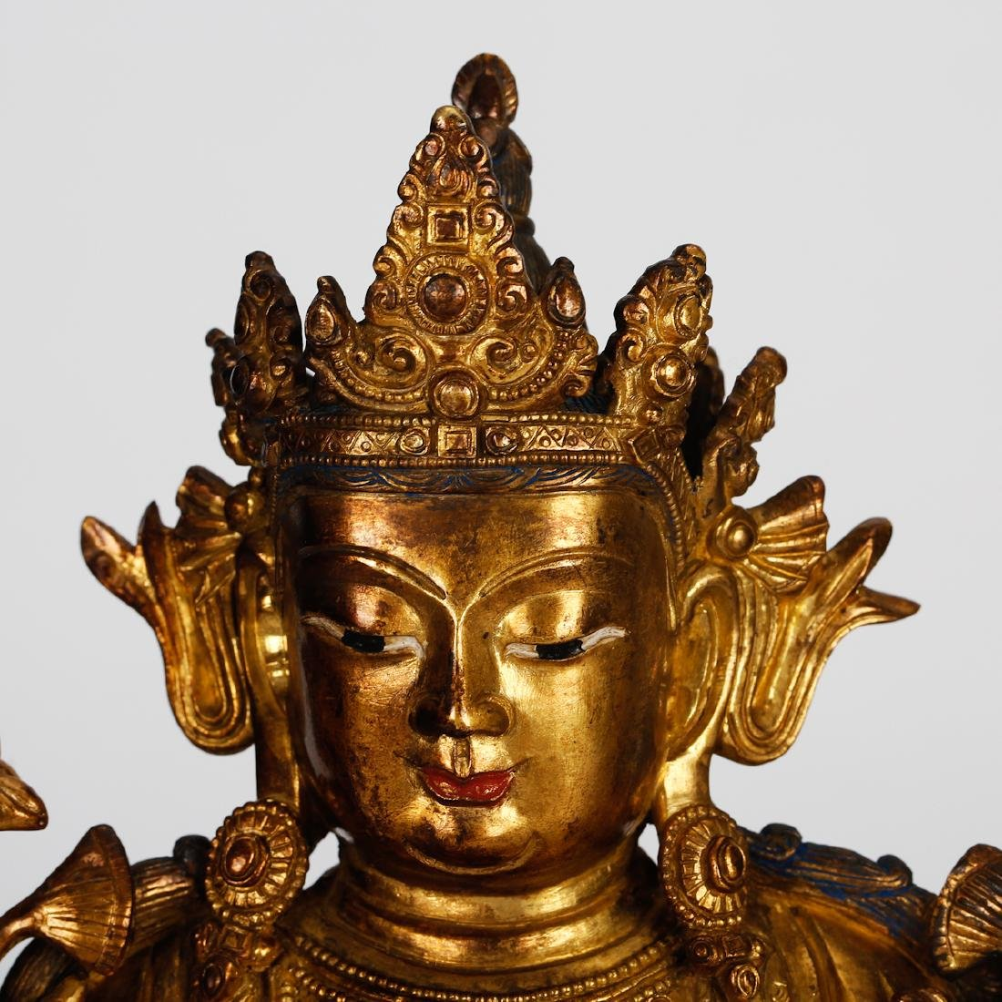 CHINESE GILT BRONZE SEATED TARA - 2