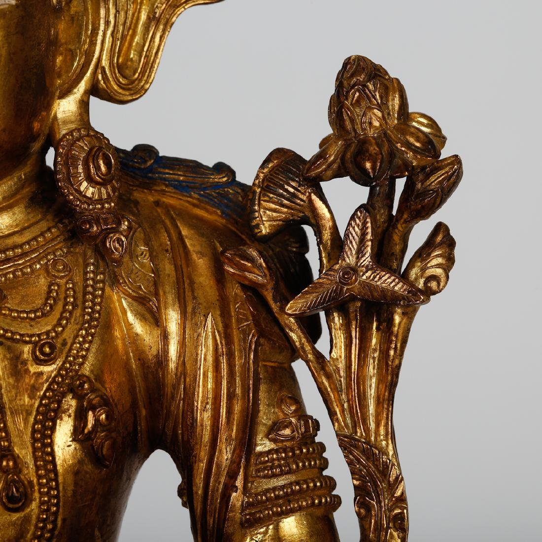 CHINESE GILT BRONZE SEATED TARA - 3
