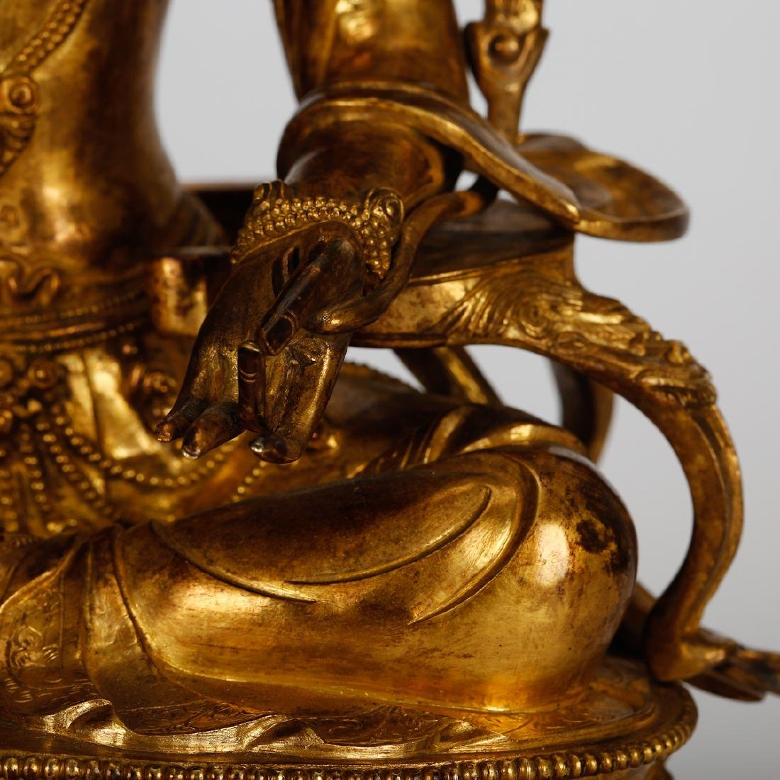 CHINESE GILT BRONZE SEATED TARA - 5