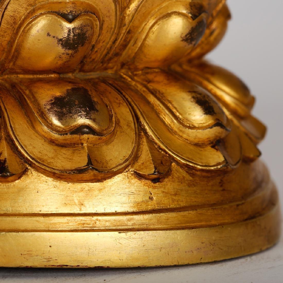 CHINESE GILT BRONZE SEATED TARA - 5
