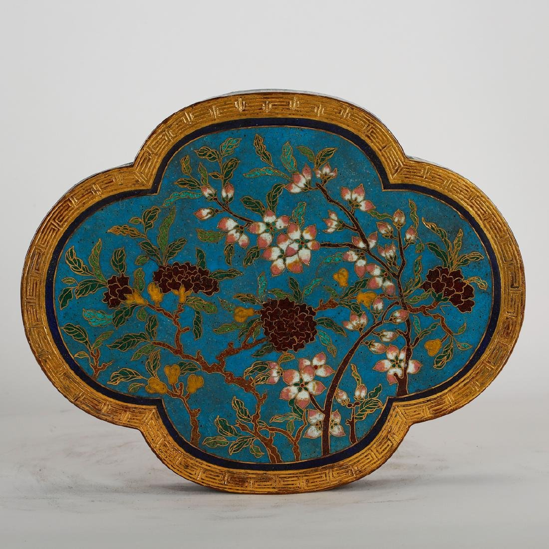 CHINESE CLOISONNE LOBBED SHAPE COVER BOX - 4