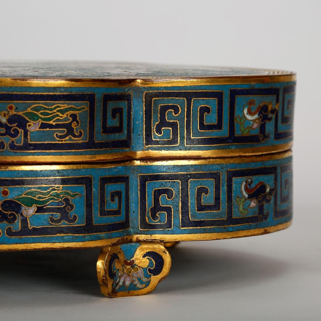 CHINESE CLOISONNE LOBBED SHAPE COVER BOX - 5