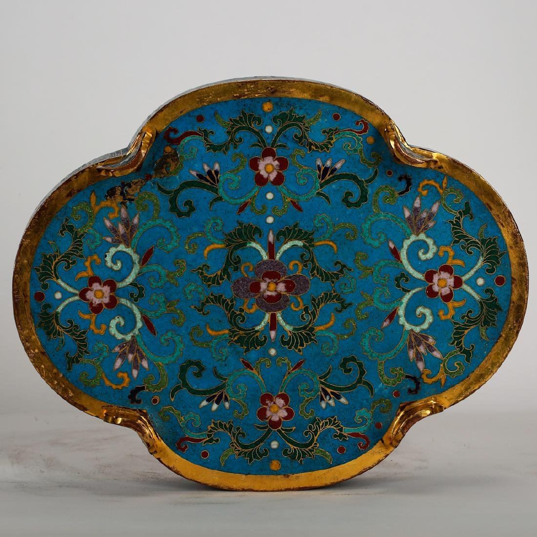 CHINESE CLOISONNE LOBBED SHAPE COVER BOX - 6