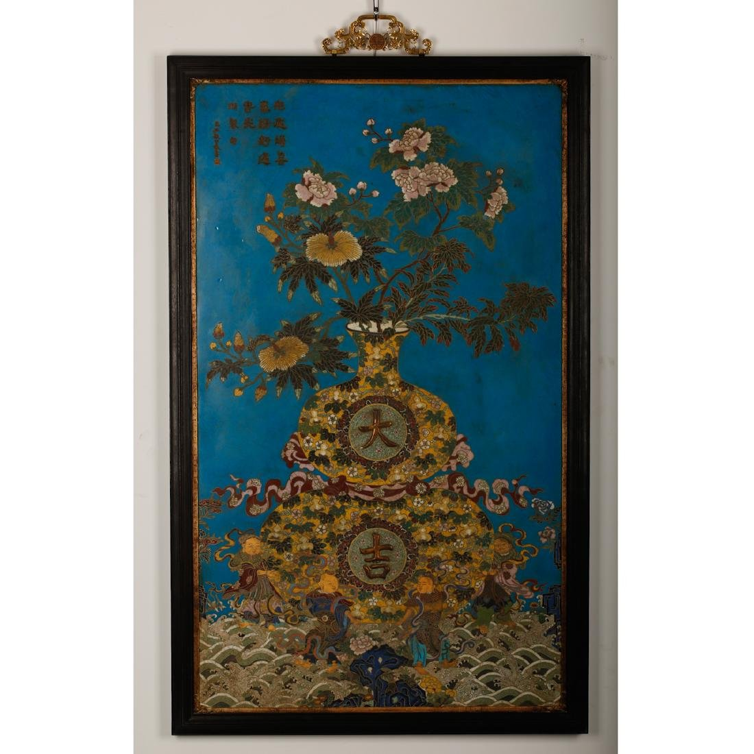CHINESE CLOISONNE WALL PANEL