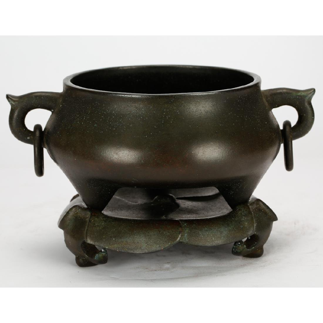 CHINESE BRONZE CENSER WITH STAND - 3