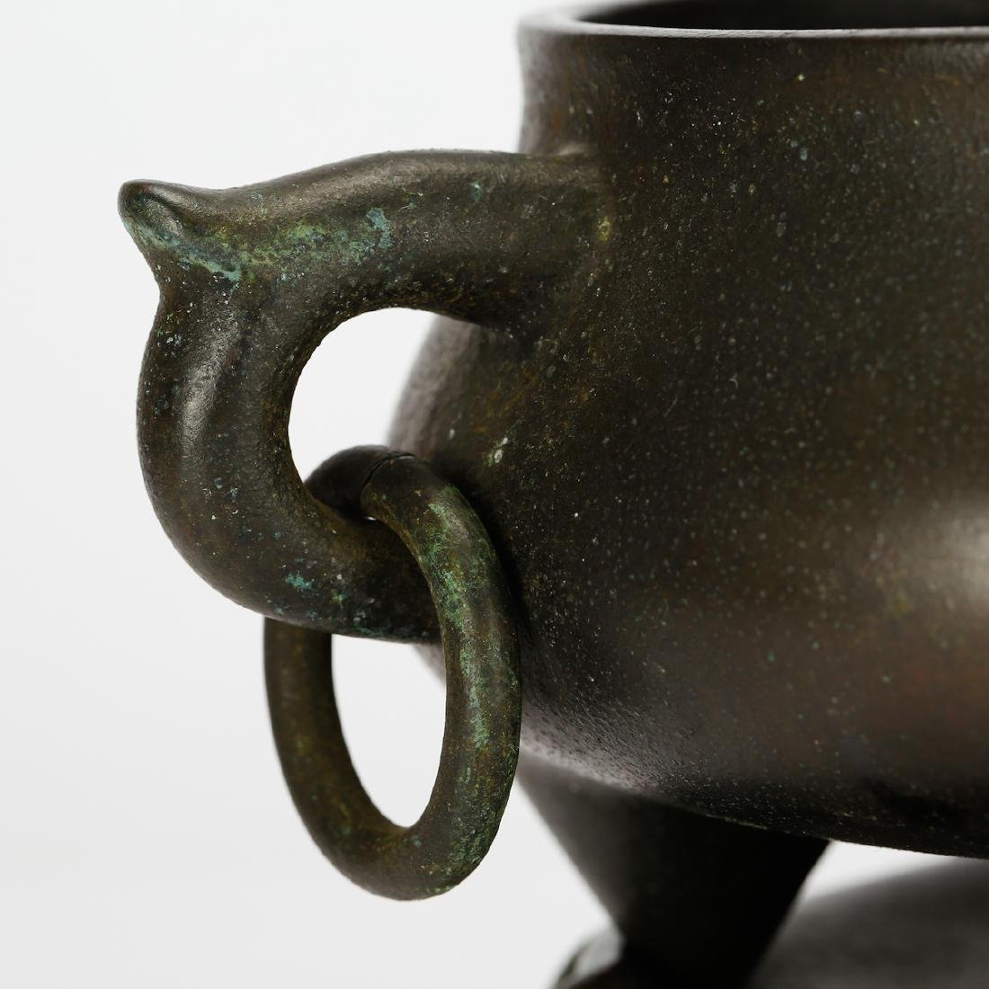 CHINESE BRONZE CENSER WITH STAND - 4