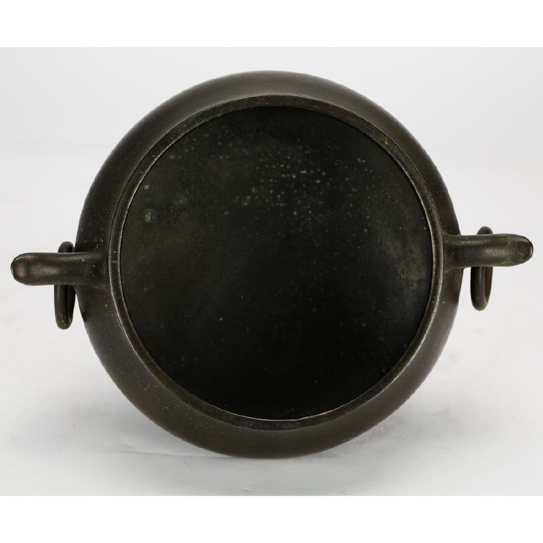 CHINESE BRONZE CENSER WITH STAND - 7