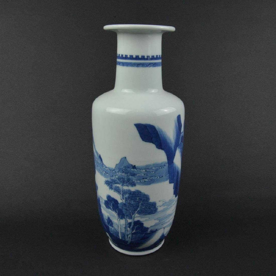 CHINESE BLUE AND WHITE ROULEAU VASE - 2
