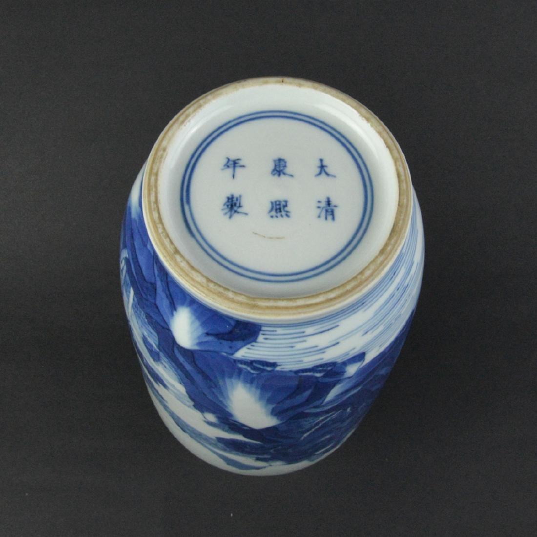 CHINESE BLUE AND WHITE ROULEAU VASE - 6