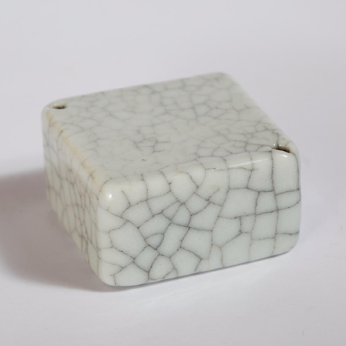 CHINESE CRACKLE GLAZED PORCELAIN WEIGHT