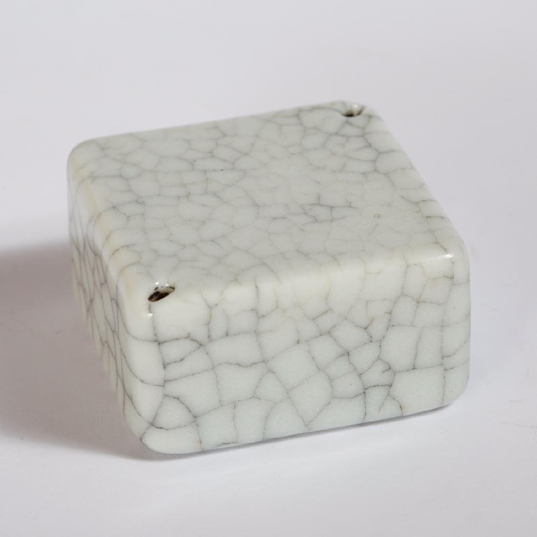 CHINESE CRACKLE GLAZED PORCELAIN WEIGHT - 2