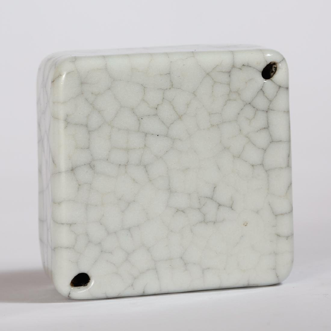 CHINESE CRACKLE GLAZED PORCELAIN WEIGHT - 3