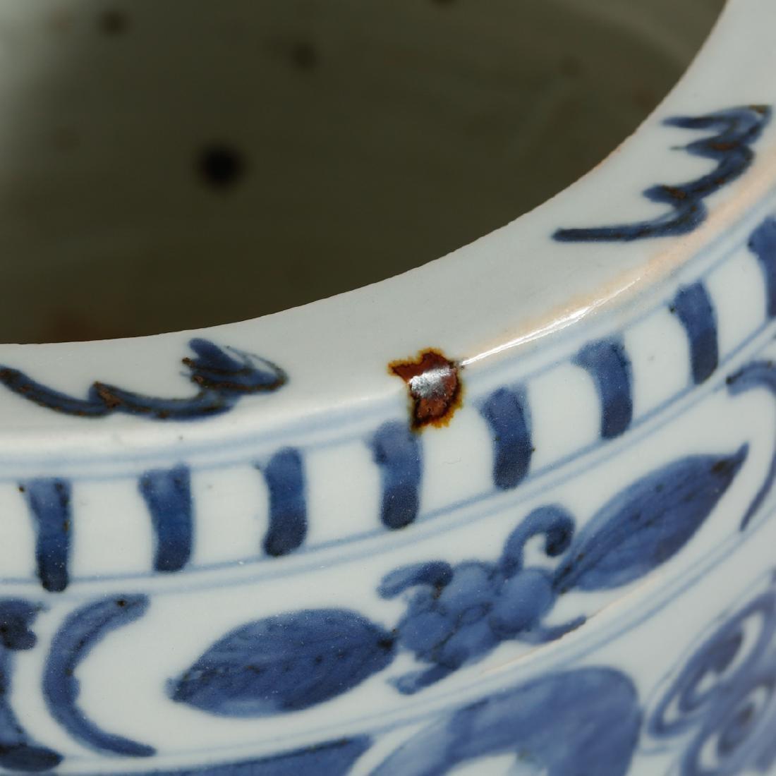 CHINESE BLUE AND WHITE PORCELAIN CENSER - 6