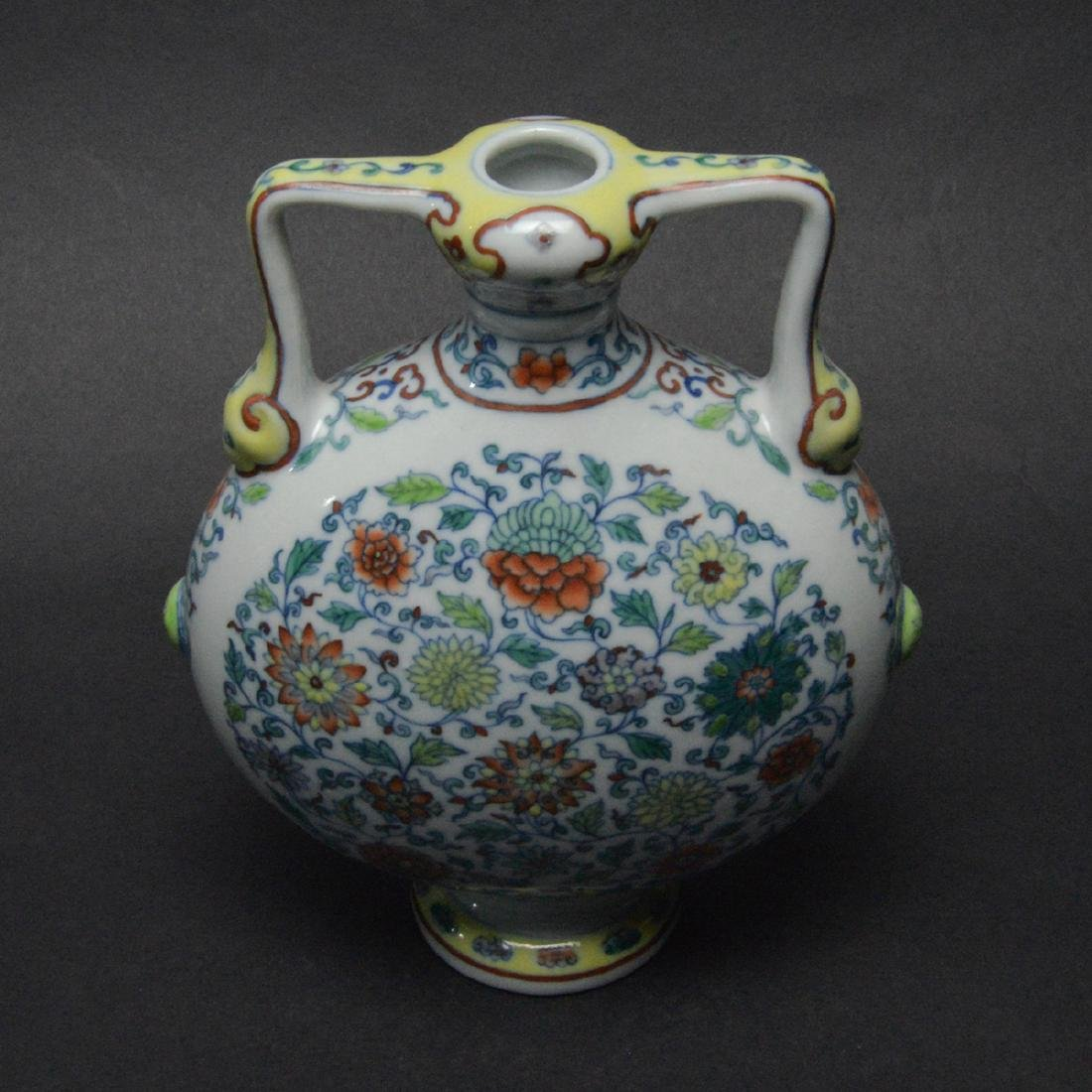 CHINESE DOUCAI MOON FLASK VASE - 3