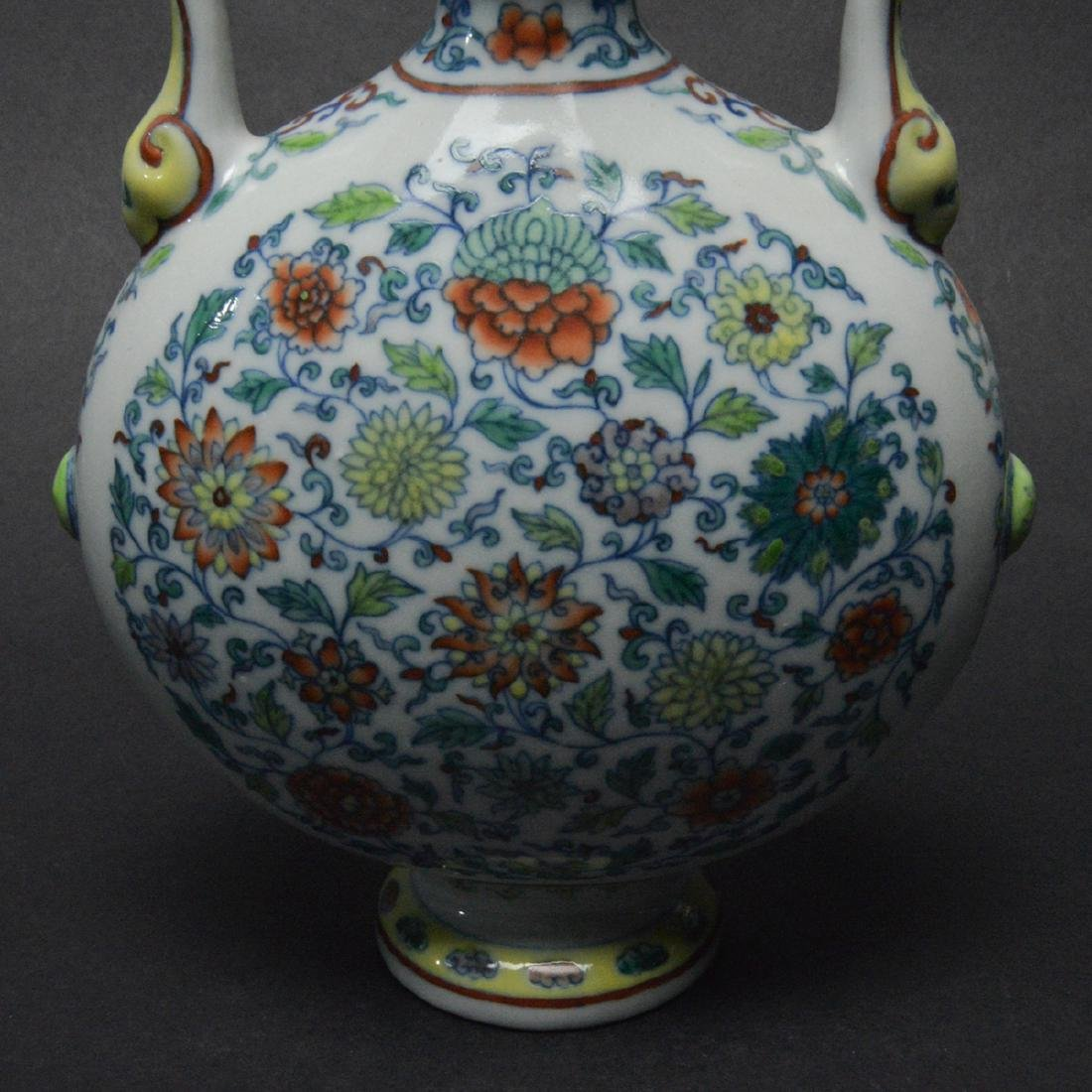 CHINESE DOUCAI MOON FLASK VASE - 5